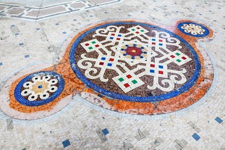 Mosaic Floor of Interior of Galleria Vittorio Emanuele II Shoping gallery, Milan, Italy photo