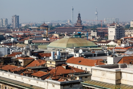 Aerial View on Milan from the Roof of Cathedral, Italy photo