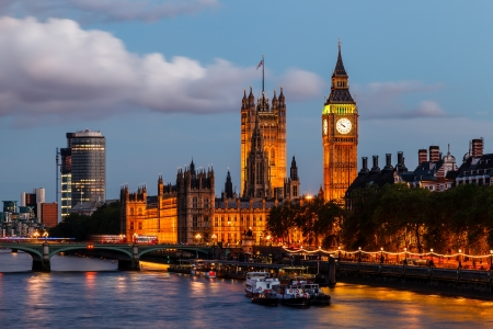 england: Big Ben and Westminster Bridge in the Evening, London, United Kingdom