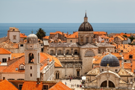 croatia dubrovnik: Aerial View on the Old City of Dubrovnik from the City Walls, Croatia Stock Photo