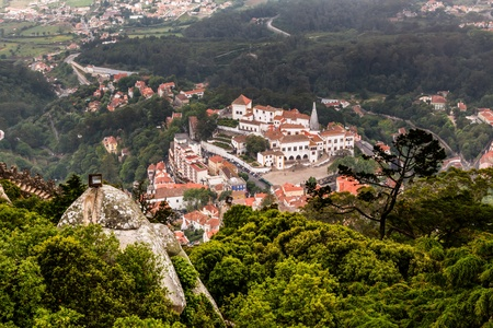 Aerial View on Sintra National Palace from Murish Castle near Lisbon in Portugal Stock Photo