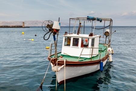 anchored: Fisherman Boat Docked at Harbor in Senj, Croatia