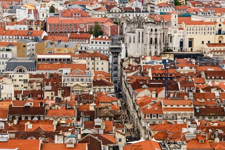 justa: Aerial View on Lisbon and Santa Justa Lift from Above, Portugal
