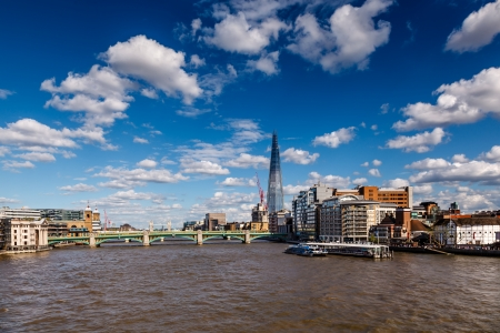 The Shard and Southwark Bridge in London, United Kingdom