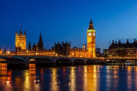 Big Ben y las C?maras del Parlamento en la noche, Londres, Reino Unido