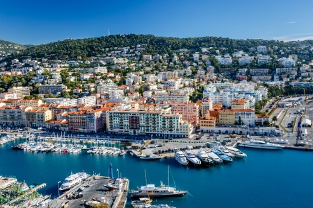 marina water: Aerial View on Port of Nice and Luxury Yachts, French Riviera, France