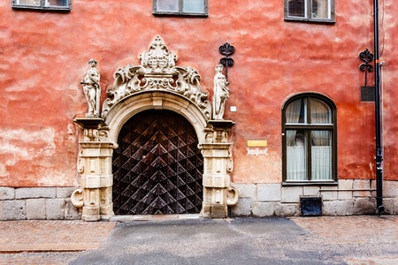 view of a wooden doorway: Ornate Marble Gate in Stockholm Old Town  Gamla Stan , Sweden
