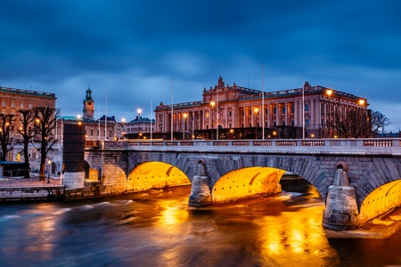 Riksdag Building and Norrbro Bridge in the Evening, Stockholm, Sweden photo