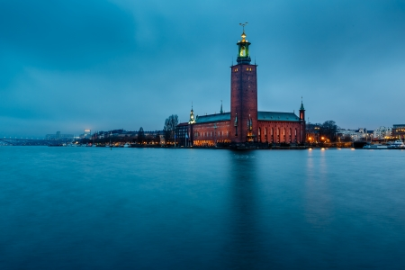 stockholm: Stockholm Cityhall Located on Kungsholmen Island in the Morning, Sweden Stock Photo
