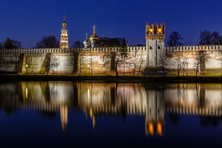 convent: Stunning View of Novodevichy Convent in the Evening, Moscow, Russia Stock Photo