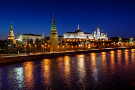 Moscow Kremlin Embankment and Vodovzvodnaya Tower in the Night, Russia photo