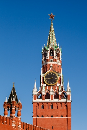 spasskaya: Spasskaya Tower of Kremlin on the Red Square in Moscow, Russia
