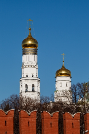 Ivan the Great Bell Tower behind Kremlin Wall, Moscow, Russia photo