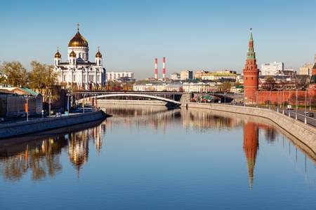 View on Kremlin and Cathedral of Jesus Christ Saviour, Moscow, Russia photo