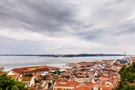 above 25: Aerial View on Lisbon and 25 Abril Bridge, Portugal