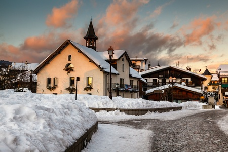 Village of Megeve in the Evening, French Alps, France photo