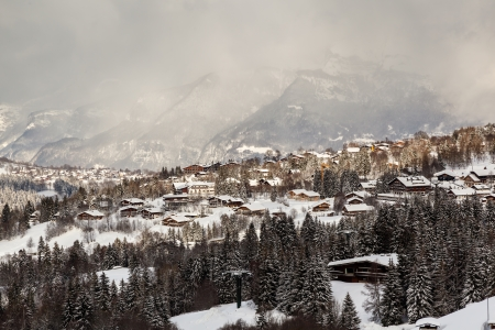 Aerial View on Ski Resort Megeve in French Alps, France photo