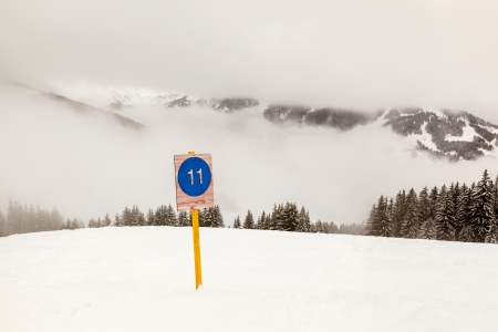 Ski Slope Sign near Megeve in French Alps, France photo