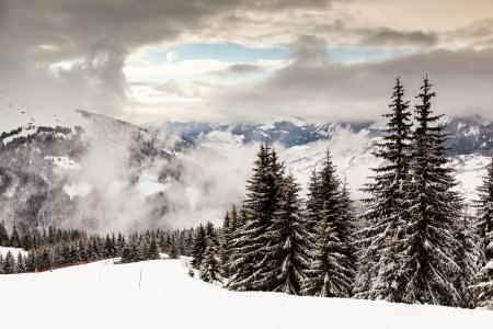 powder snow: Downhill Ski Slope near Megeve in French Alps, France Stock Photo