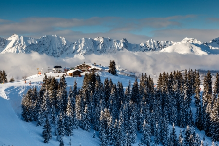 Ski Restaurant on the Mountain Peak near Megeve in French Alps, France photo