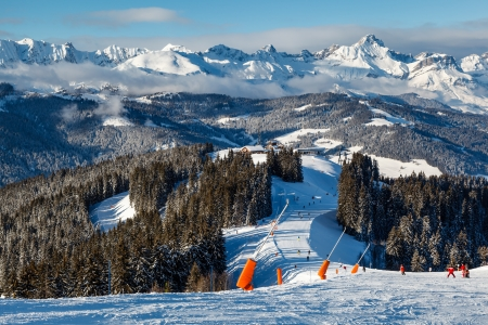 Skiing and Snowboarding in French Alps, Megeve photo