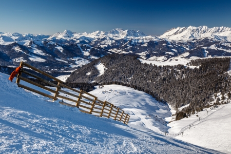 Mountain Peak and Ski Slope near Megeve in French Alps, France photo