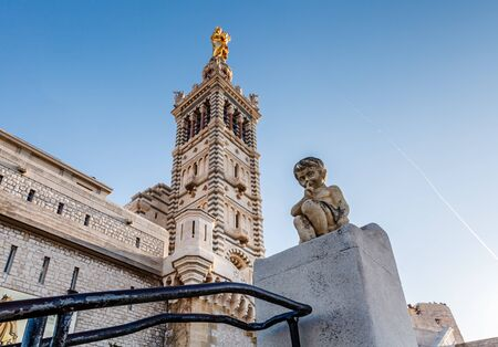 garde: Basilica of Notre-Dame de la Garde in Marseilles, France Stock Photo