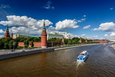 Moscow Kremlin and Moscow River Embankment, Russia photo