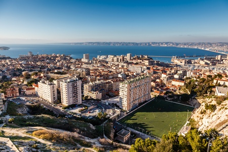 Aerial View of Marseille City and its Harbor, France Фото со стока