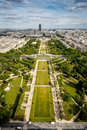 french culture: Aerial View on Champ de Mars from the Eiffel Tower, Paris, France