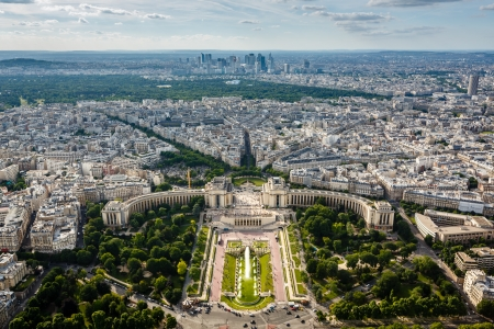 la defense: Aerial View on Trocadero and La Defense From the Eiffel Tower, Paris, France