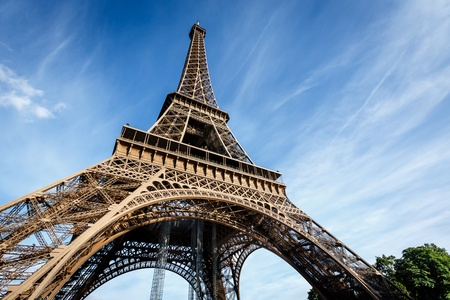 Wide View of Eiffel Tower from the Ground, Paris, France photo