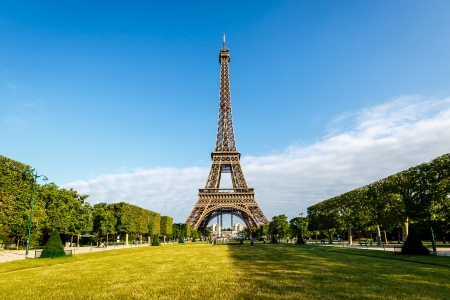 eiffel tower architecture: Eiffel Tower and Champ  de Mars in Paris, France Stock Photo