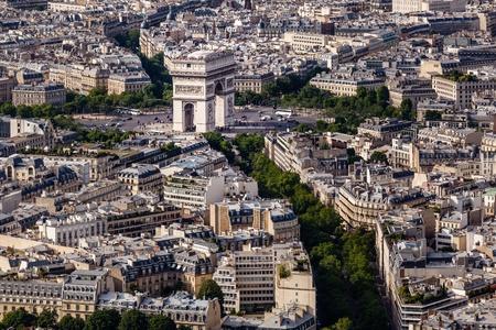triumphe: Aerial View on Arch de Triumph from the Eiffel Tower, Paris, France