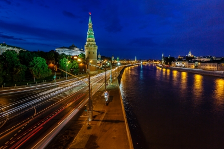moskva river: Moscow Kremlin and Moscow River Illuminated in the Evening, Russia Stock Photo