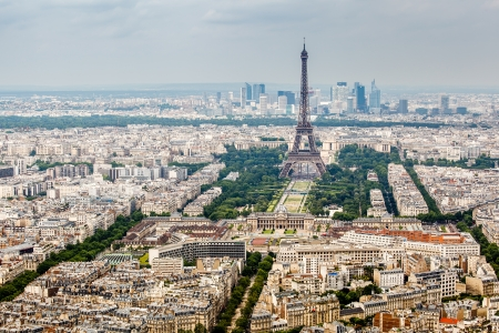 Aerial View on Champs de Mars and Eiffel Tower, Paris, France photo