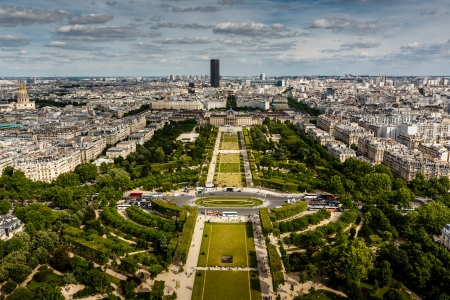 Aerial View on Champ de Mars from the Eiffel Tower, Paris, France photo