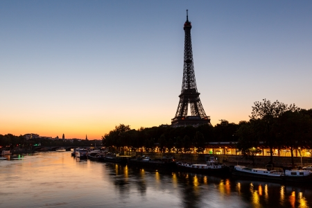 seine: Eiffel Tower and d Iena Bridge at Dawn, Paris, France
