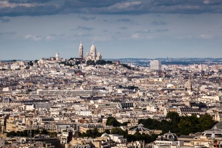 sacred heart: Aerial View on Montmartre Hill and Sacre-Coeur Church, Paris, France Stock Photo