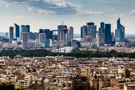 Aerial View on La Defense and its Scyscrapers in Paris, France photo