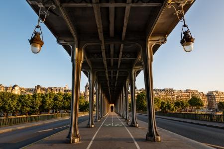 paris street: Bir-Hakeim Bridge in the Morning, Paris, France