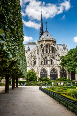 Notre Dame de Paris Garden on Cite Island, Paris, France photo