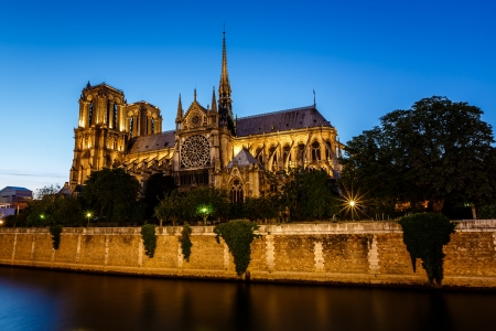 Notre Dame de Paris Cathedral and Seine River in the Evening, Paris, France photo