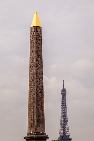 obelisk stone: Egyptian Obelisk of Luxor and Eiffel Tower, View from the Place de la Concorde in Paris, France