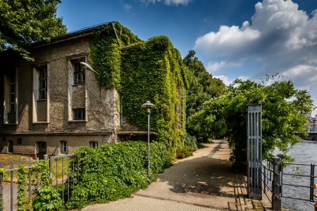lampost: River Spree Embankment and House with Grape Vines, Berlin, Germany