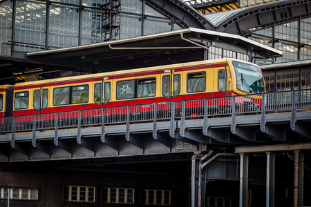 Electric Train Arrived on U-Bahn Station in Berlin, Germany photo
