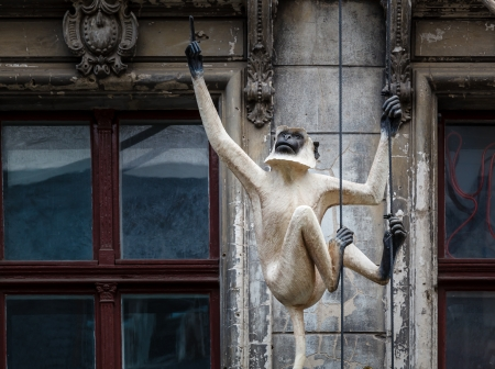 Old House Facade with Monkey Sculpture in Berlin, Germany photo