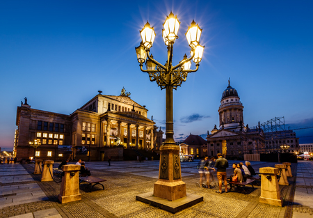 French Cathedral and Concert Hall on Gendarmenmarkt Square at Night, Berlin, Germany