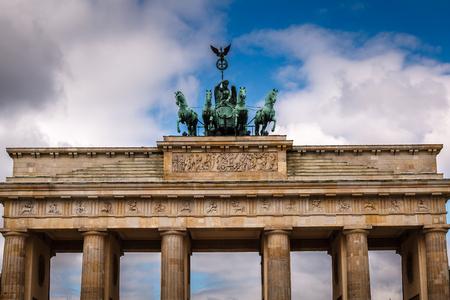 quadriga: Quadriga on Top of the Brandenburger Tor  Brandenburg Gate  in Berlin, Germany