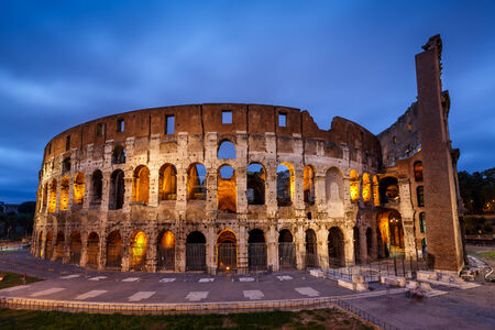 Colosseum or Coliseum, also known as the Flavian Amphitheatre in the Evening, Rome, Italy photo